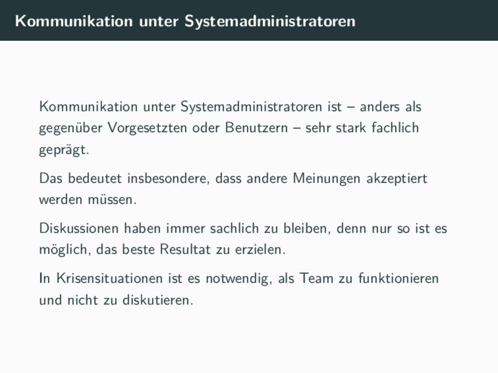 Kommunikation unter Systemadministratoren Kommu...