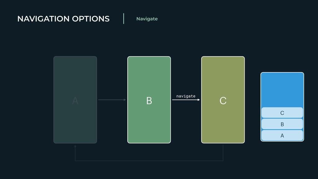 NAVIGATION OPTIONS Navigate A B C A B C navigate