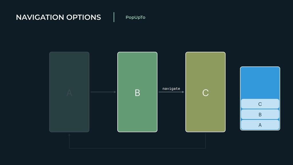 NAVIGATION OPTIONS PopUpTo A B C A B C navigate