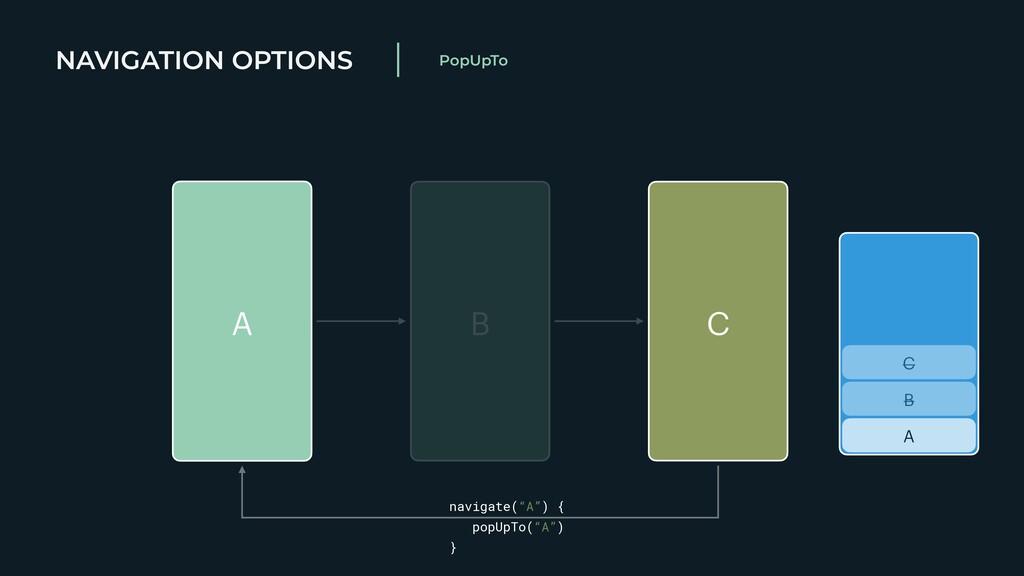 NAVIGATION OPTIONS PopUpTo A B C A B C navigate...