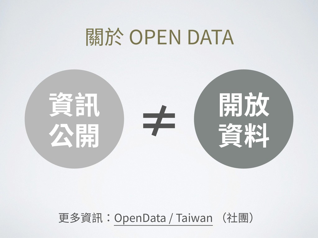 資訊 公開 開放 資料 ≠ 關於 OPEN DATA 更多資訊:OpenData / Taiw...