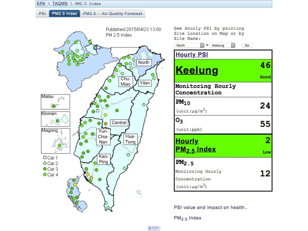 ⾏政院環保署 空氣品質監測網 http://taqm.epa.gov.tw/taqm/en/...