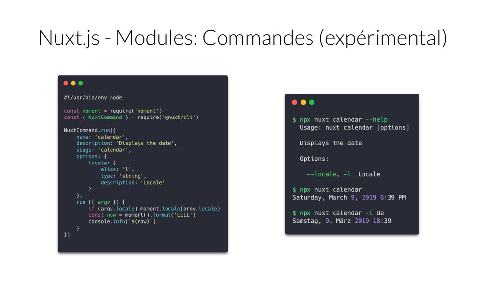 Nuxt.js - Modules: Commandes (expérimental)