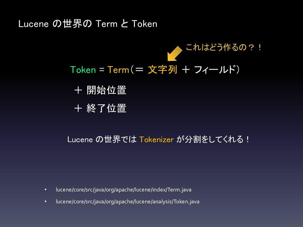 Lucene の世界の Term と Token Token = Term(= 文字列 + フ...