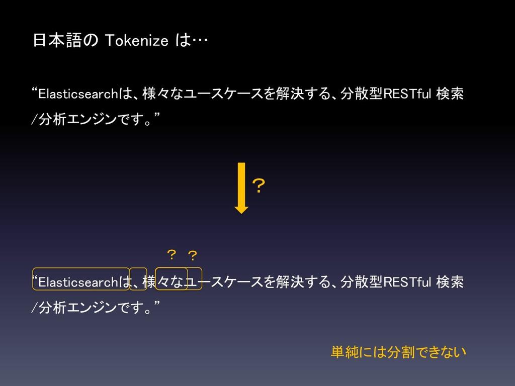 """日本語の Tokenize は… """"Elasticsearchは、様々なユースケースを解決する..."""