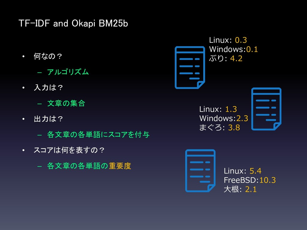 TF-IDF and Okapi BM25b • 何なの? – アルゴリズム • 入力は? –...