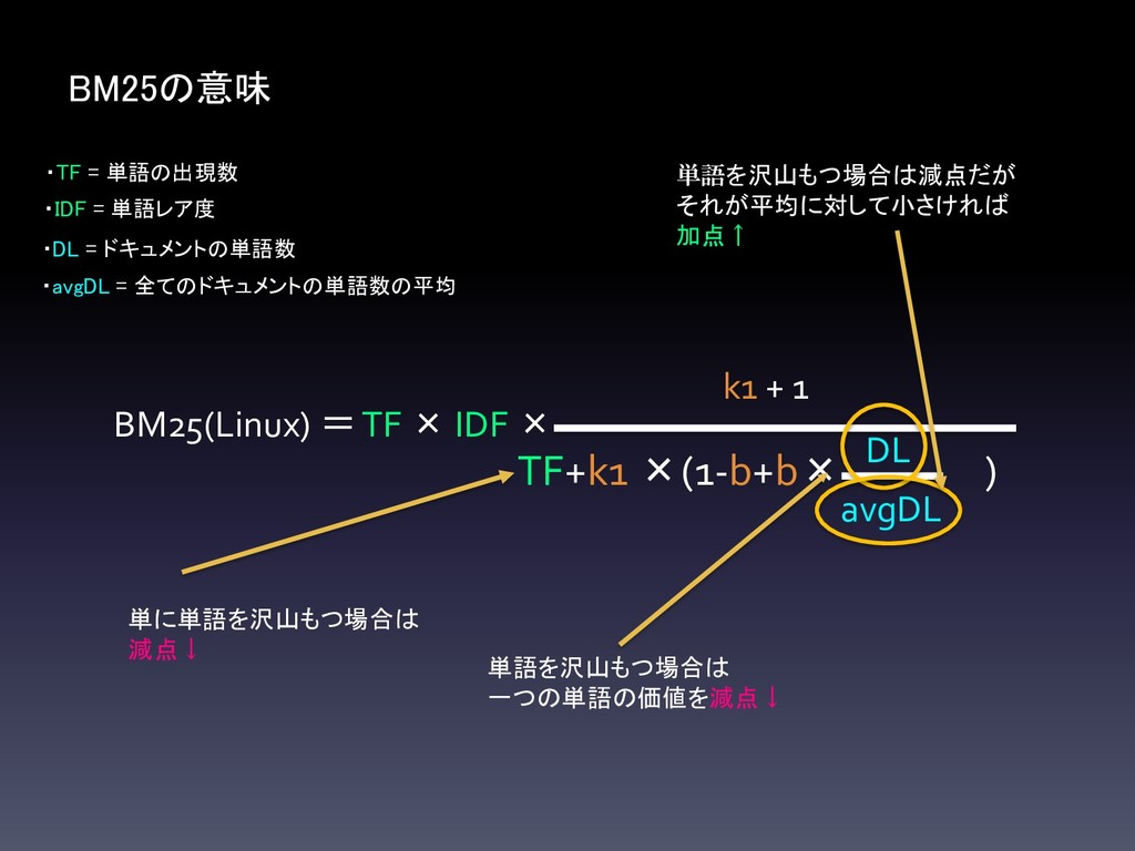 BM25の意味 BM25(Linux) =TF × IDF × TF+k1 ×(1-b+b× ...
