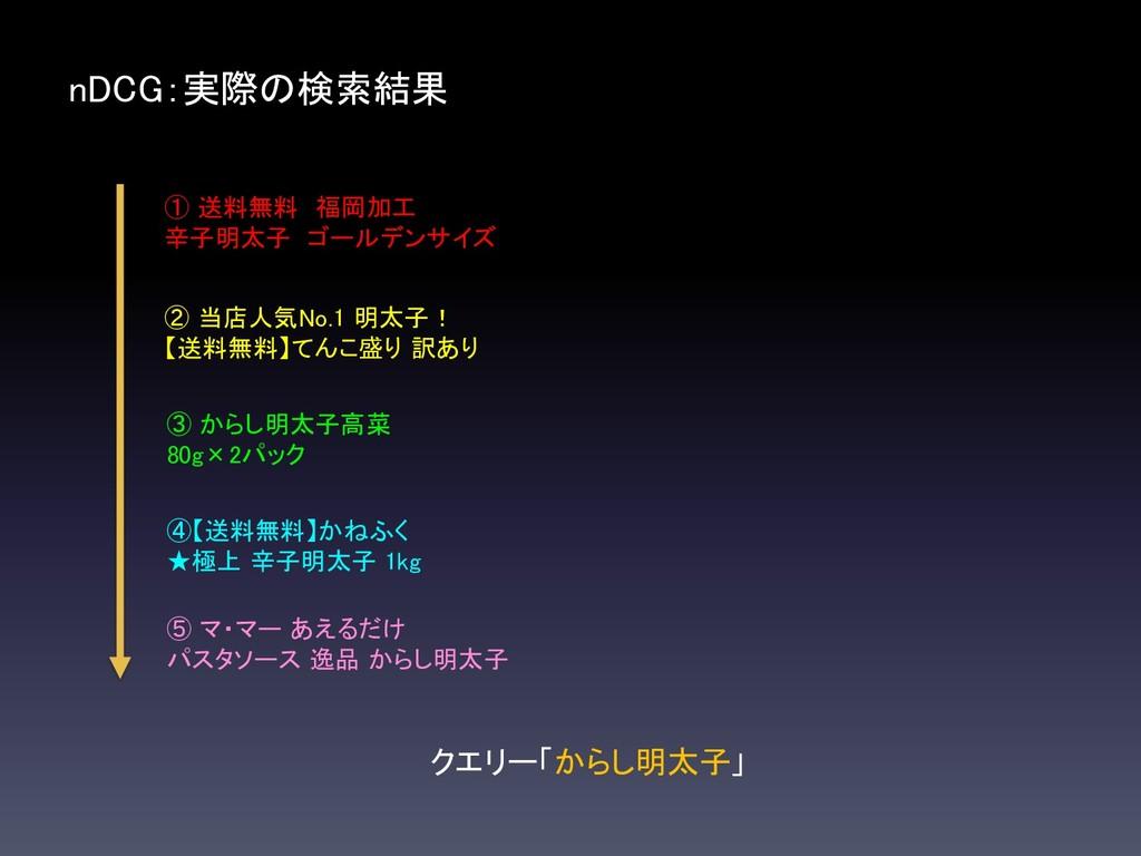 nDCG:実際の検索結果 クエリー「からし明太子」 ① 送料無料 福岡加工 辛子明太子 ゴール...