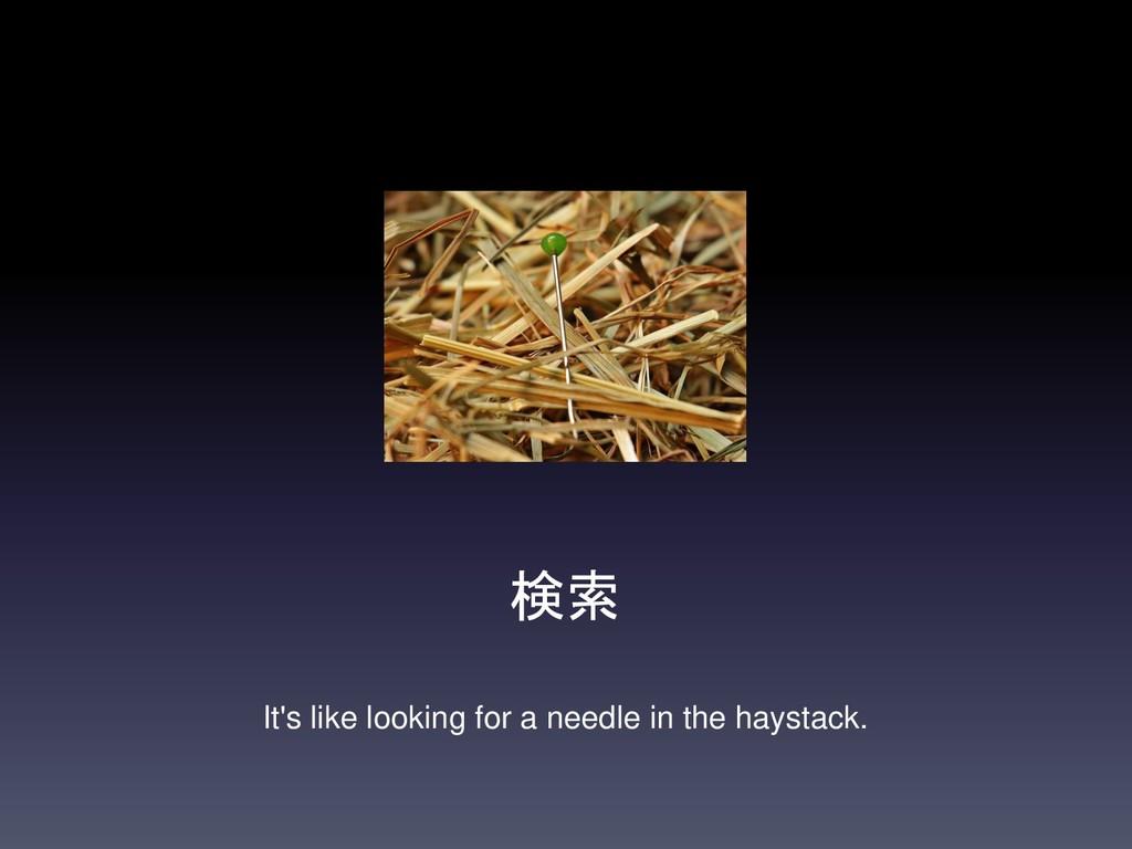 検索 It's like looking for a needle in the haysta...