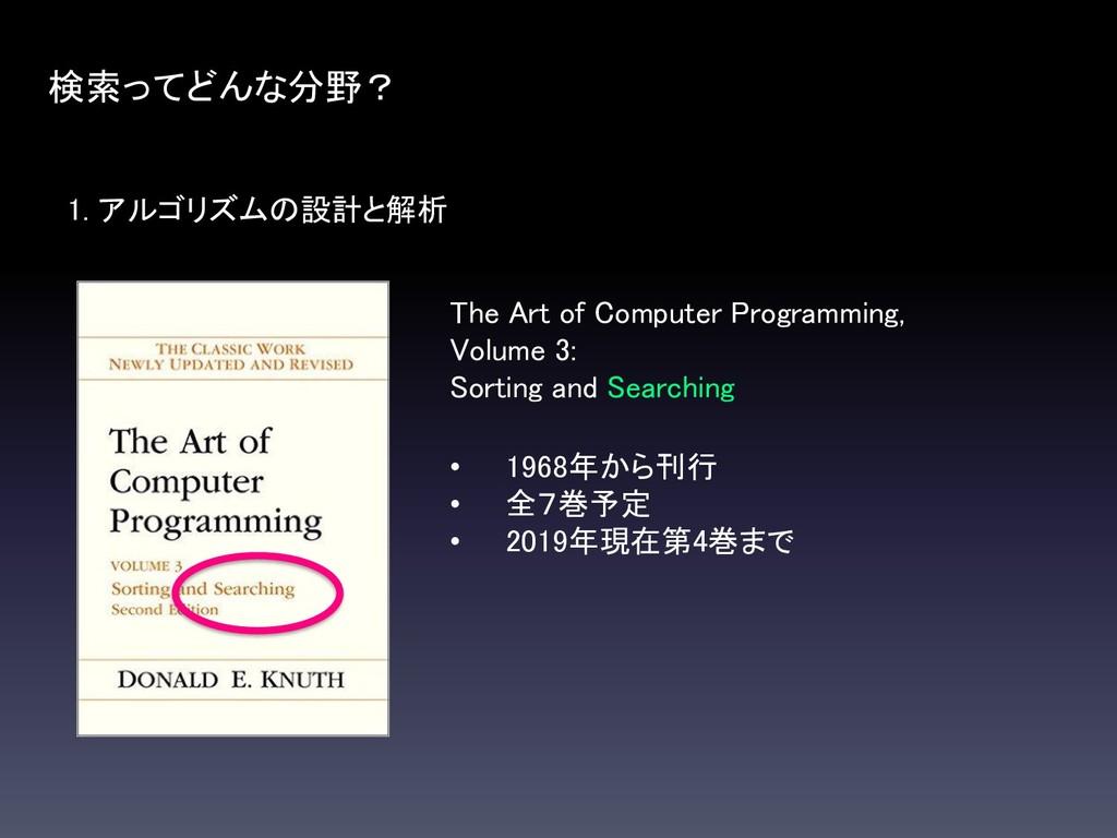 1. アルゴリズムの設計と解析 検索ってどんな分野? The Art of Computer ...