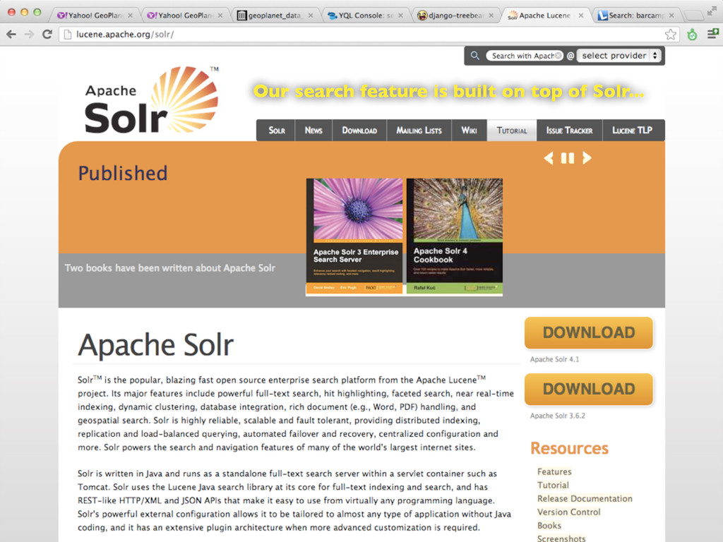 Our search feature is built on top of Solr...