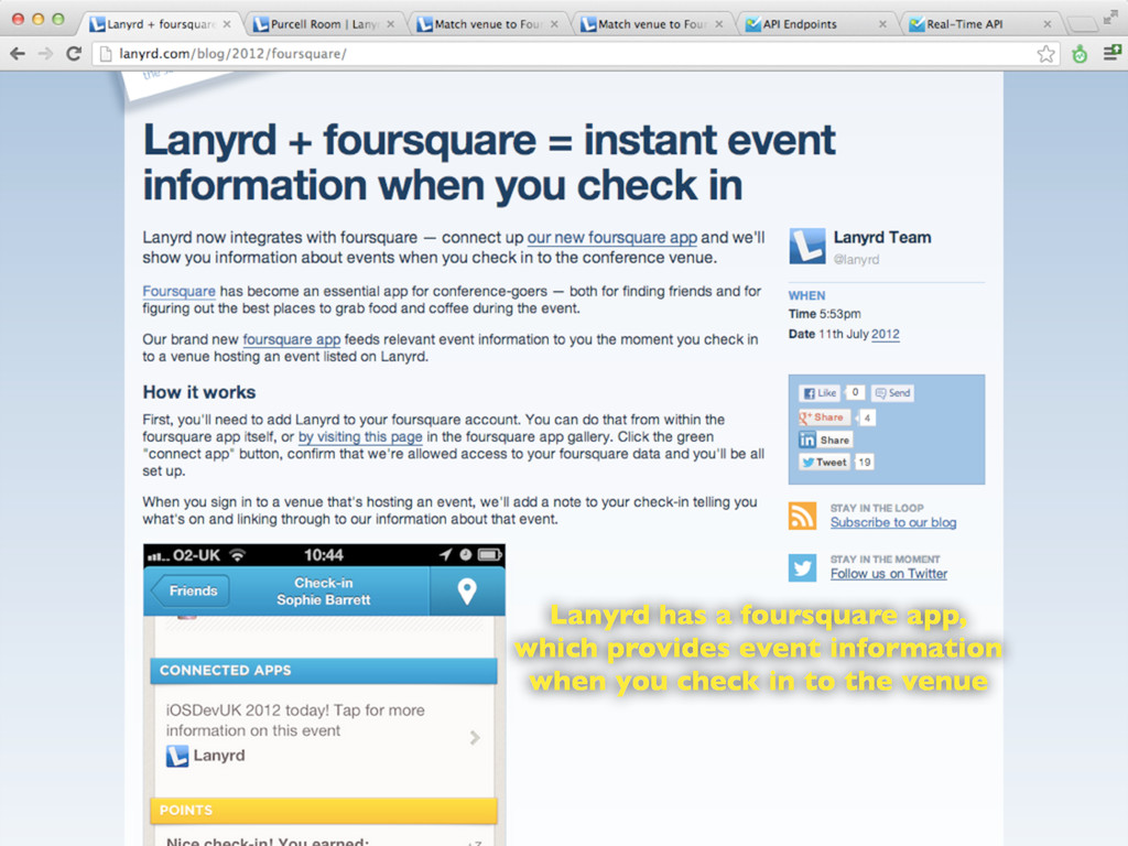 Lanyrd has a foursquare app, which provides eve...