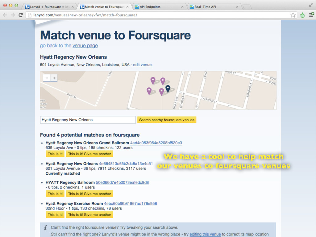 We have a tool to help match our venues to four...