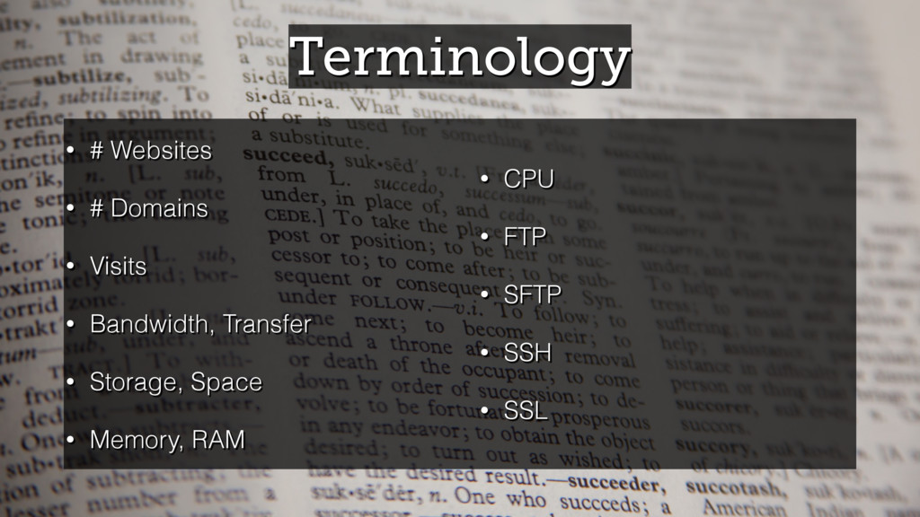 Terminology • # Websites • # Domains • Visits •...