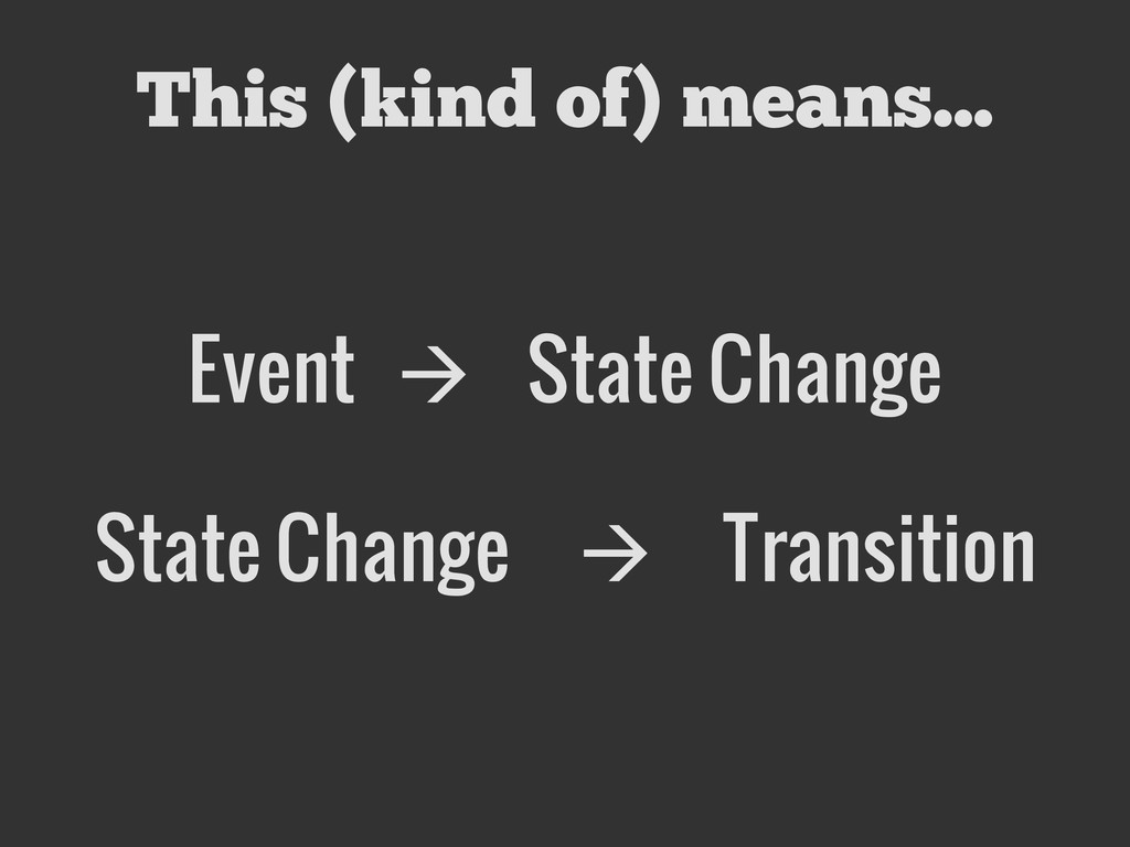 This (kind of) means... Event  State Change St...