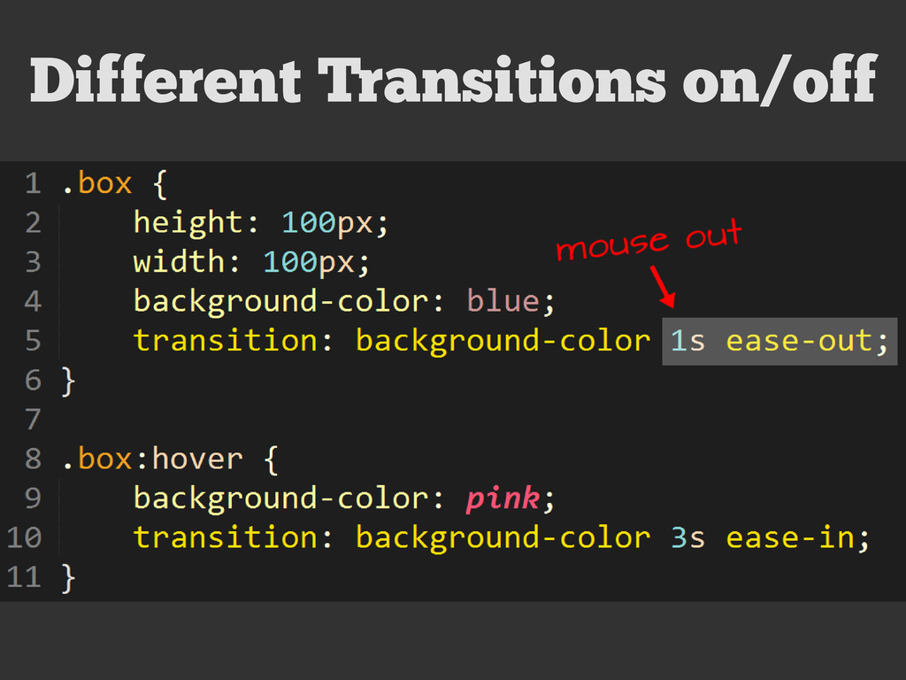 Different Transitions on/off