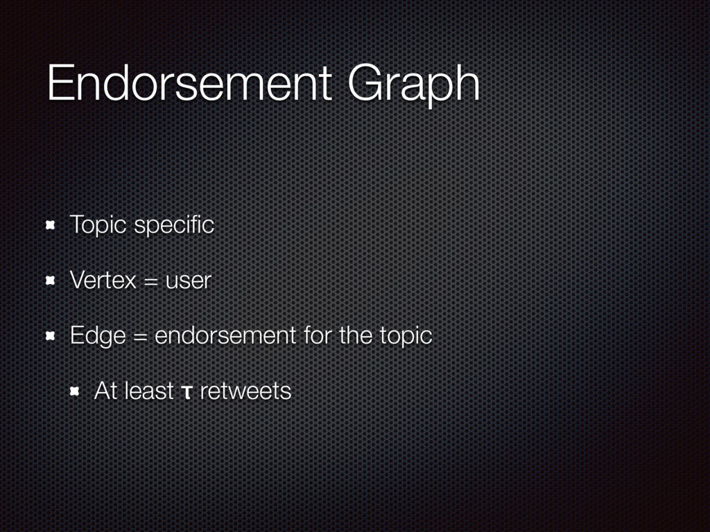 Endorsement Graph Topic specific Vertex = user E...