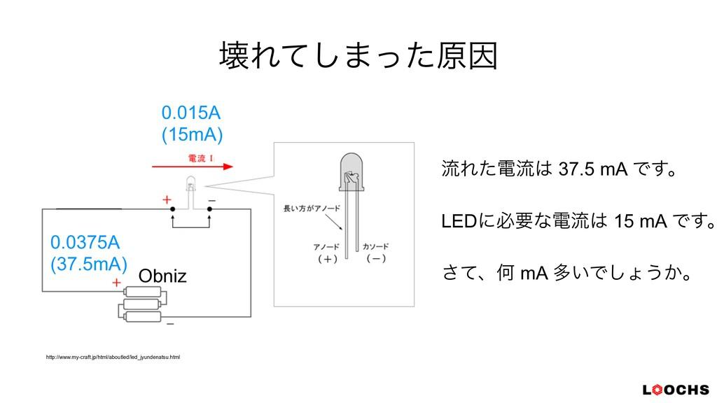 յΕͯ͠·ͬͨݪҼ ྲྀΕͨిྲྀ 37.5 mA Ͱ͢ɻ   LEDʹඞཁͳిྲྀ 15 mA...