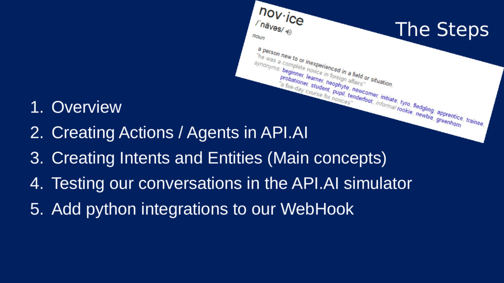 1. Overview 2. Creating Actions / Agents in API...