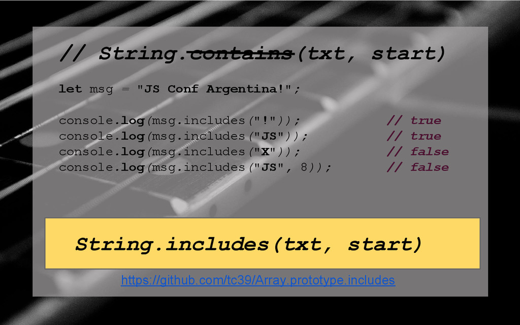 "// String.contains(txt, start) let msg = ""JS Co..."