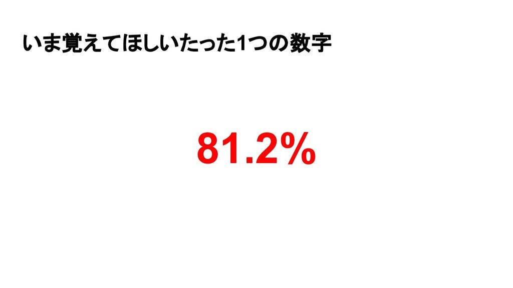 いま覚えてほしいたった1つの数字 81.2%