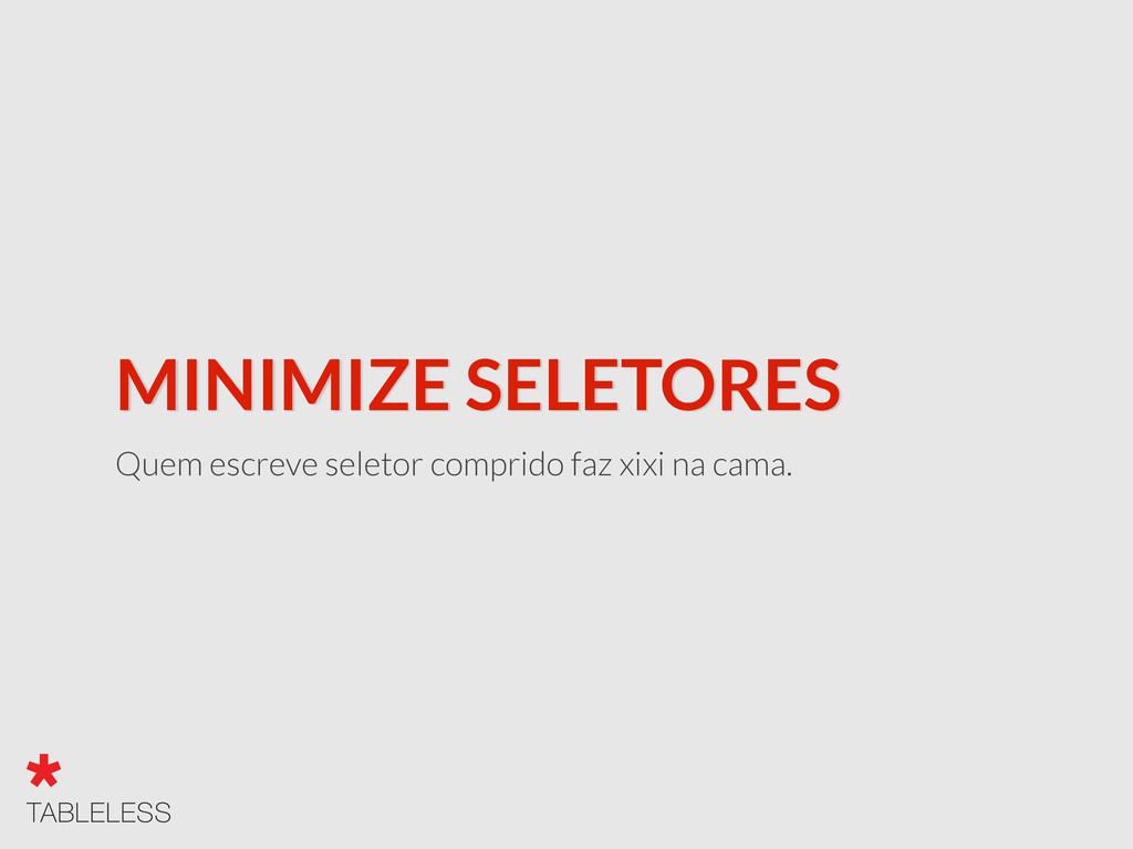 MINIMIZE SELETORES Quem escreve seletor comprid...