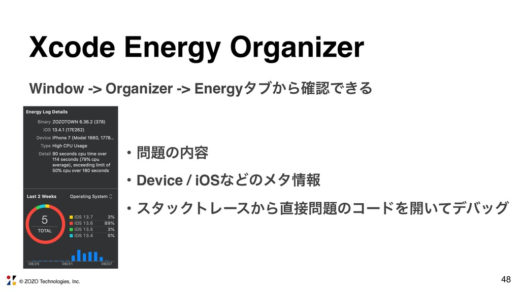 © ZOZO Technologies, Inc. 48 Xcode Energy Organ...
