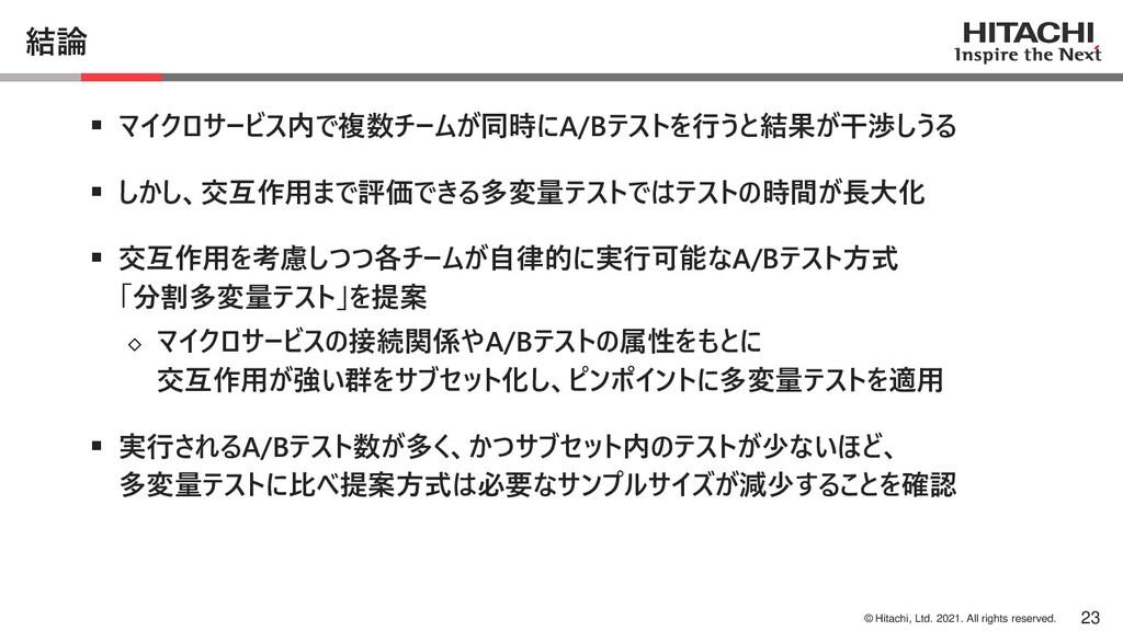 © Hitachi, Ltd. 2021. All rights reserved. 結論 ▪...