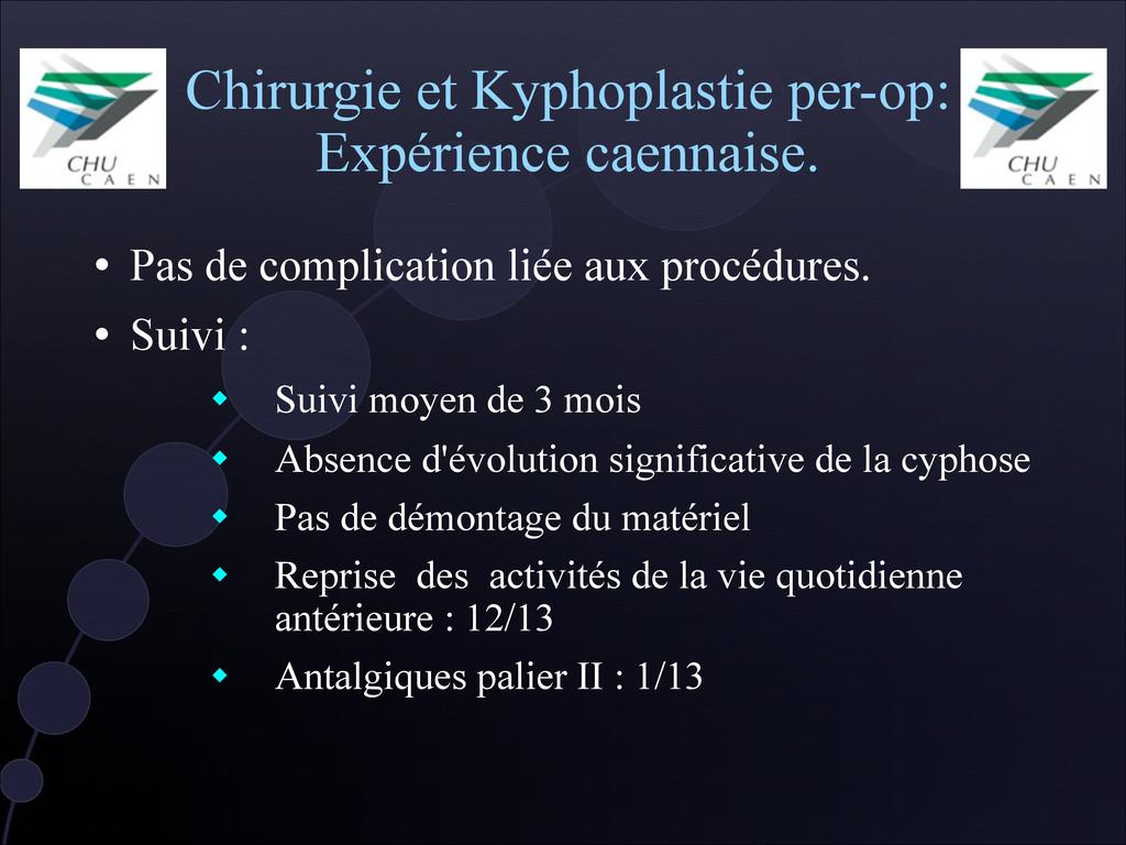 Chirurgie et Kyphoplastie per-op: Expérience ca...