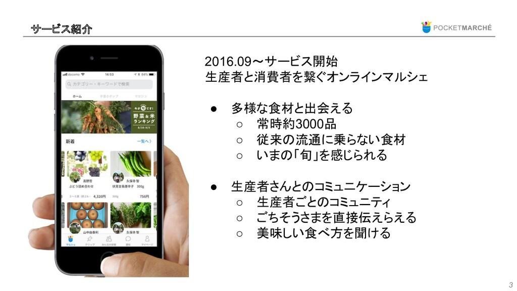 3 2016.09〜サービス開始 生産者と消費者を繋ぐオンラインマルシェ ● 多様な食材と出会...