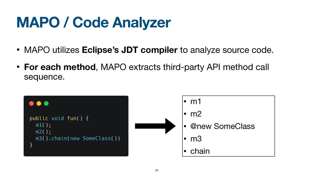MAPO / Code Analyzer • MAPO utilizes Eclipse's ...