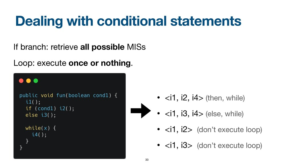 Dealing with conditional statements • <i1, i2, ...