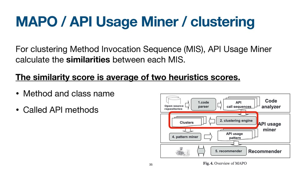 MAPO / API Usage Miner / clustering For cluster...