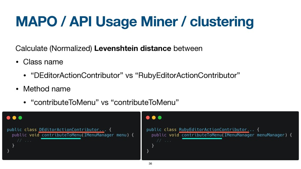 MAPO / API Usage Miner / clustering Calculate (...