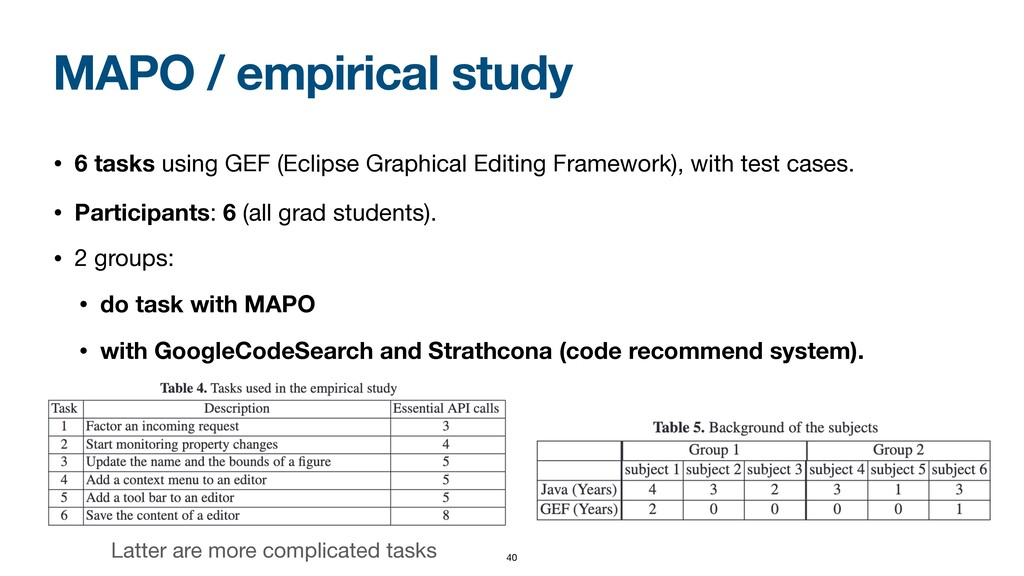 MAPO / empirical study • 6 tasks using GEF (Ecl...