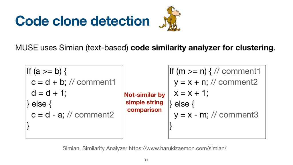 Code clone detection MUSE uses Simian (text-bas...