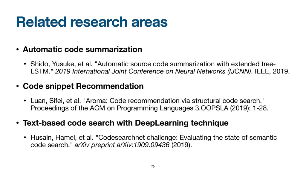 Related research areas • Automatic code summari...