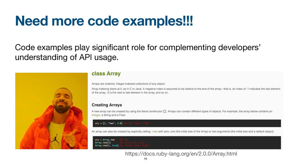 Need more code examples!!! Code examples play s...