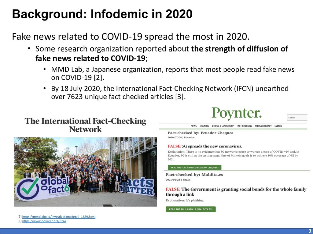 Background: Infodemic in 2020 Fake news related...