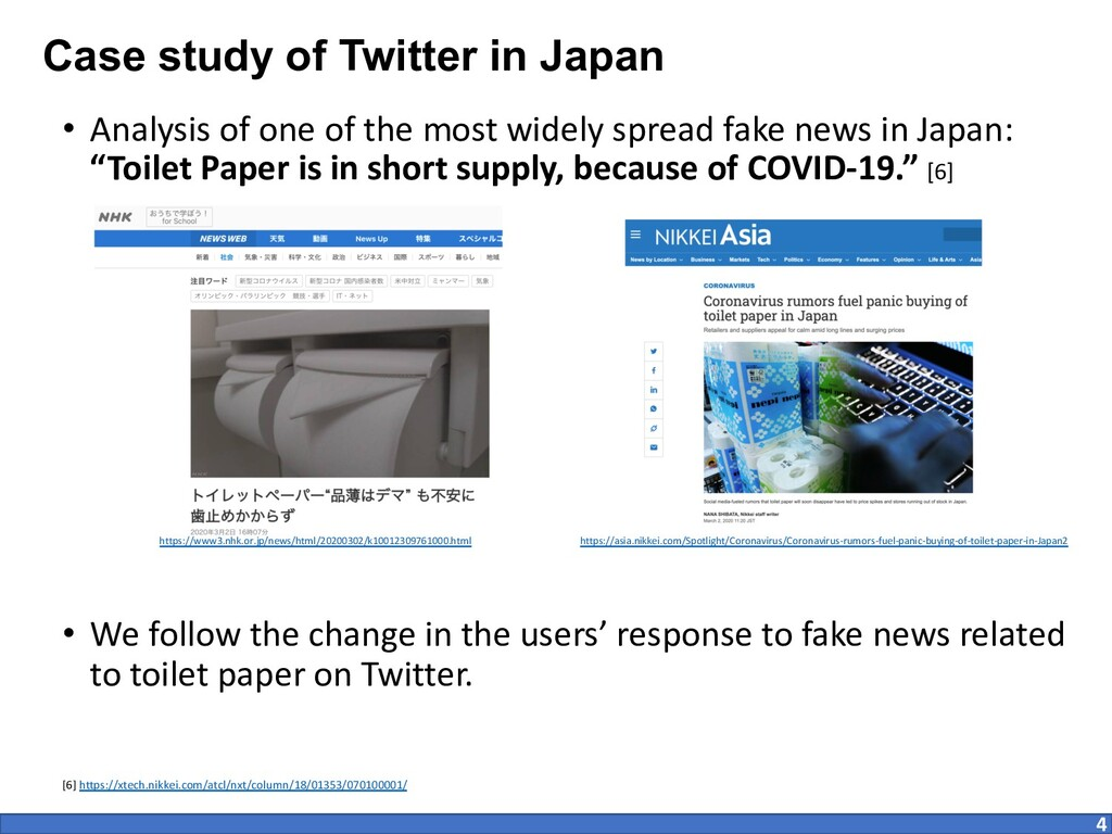 Case study of Twitter in Japan • Analysis of on...