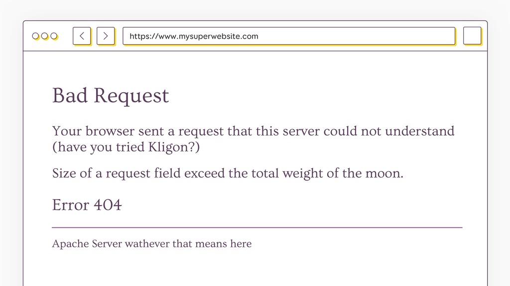 https://www.mysuperwebsite.com Bad Request Erro...
