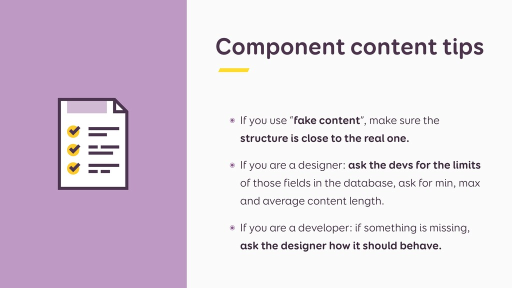 """Component content tips ๏ If you use """"fake conte..."""