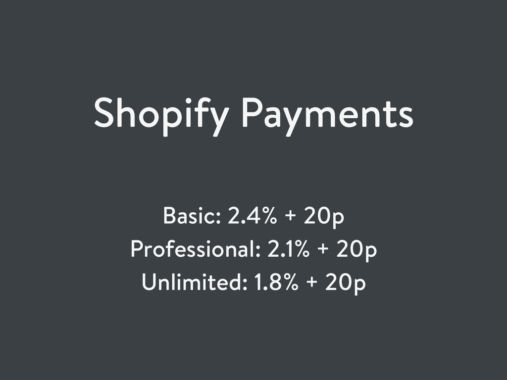 Shopify Payments Basic: 2.4% + 20p Professional...