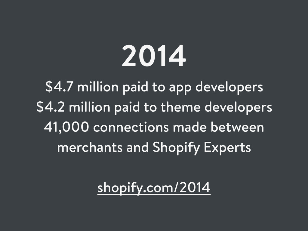 2014 $4.7 million paid to app developers $4.2 m...