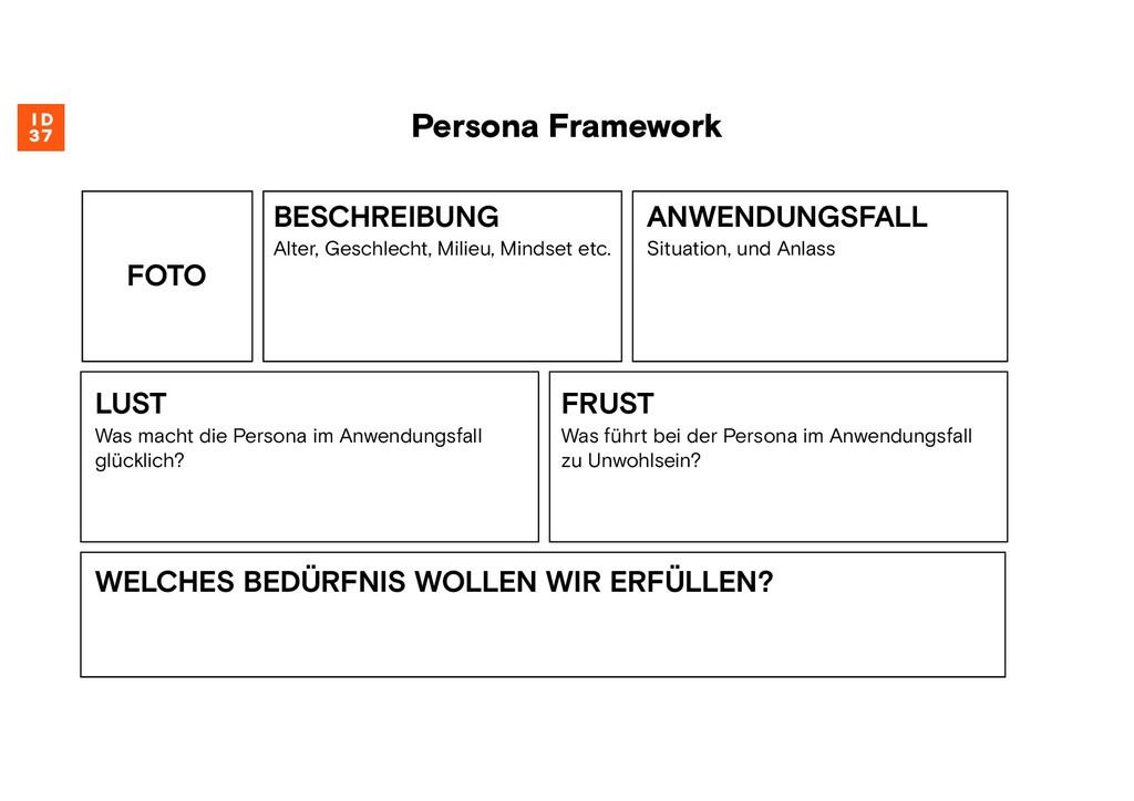 Persona Framework BESCHREIBUNG Alter, Geschlech...
