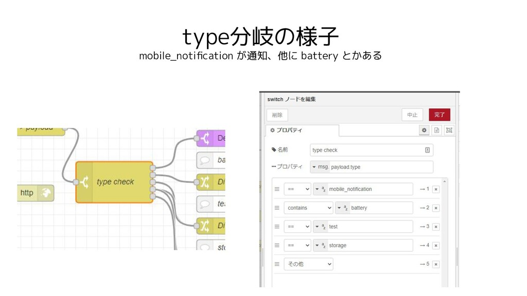 type分岐の様子 mobile_notification が通知、他に battery とかある