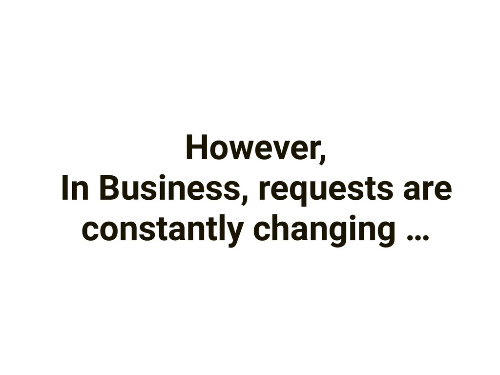However, In Business, requests are constantly c...