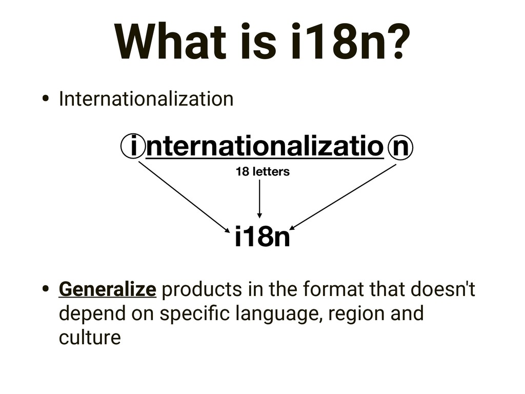 What is i18n? • Internationalization