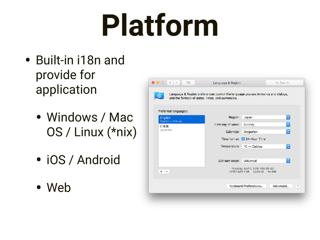 Platform • Built-in i18n and provide for applic...