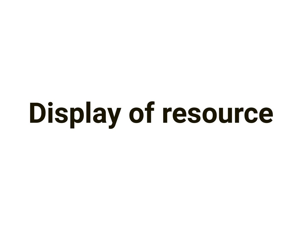 Display of resource